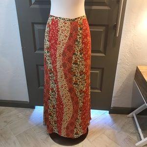 Harold's 100% Silk Bandana Print Maxi Skirt